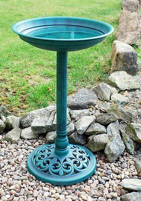New Ornamental Traditional Pedestal Bird Bath Outdoor Garden Water Weatherproof • 80.99£