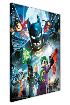 £9.99 • Buy Lego Batman Superman Robin And Villains On Canvas Wall Art Prints Kids Pictures