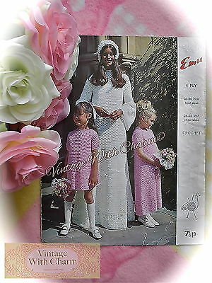 Vintage 1970s Crochet Pattern For Wedding Dress, Bridesmaid & Flower Girl Dress • 2.69£