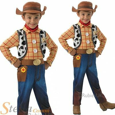 Boys Deluxe Woody Toy Story Cowboy Fancy Dress Costume + Hat Kids Outfit • 18.98£
