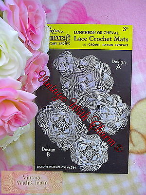 £1.99 • Buy Vintage Crochet Pattern 2 Styles Of 'Swirls Of Lace' Luncheon Or Cheval Mats