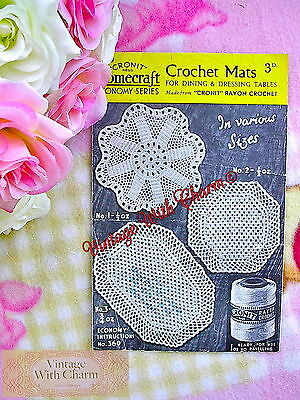 £1.99 • Buy Vintage 1940's Crochet Pattern Mats For Dining & Dressing Tables, Various Sizes!
