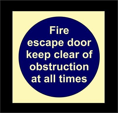 FIRE ESCAPE DOOR KEEP CLEAR OF OBSTRUCTIONS Photoluminescent Fire Door Sign • 0.99£