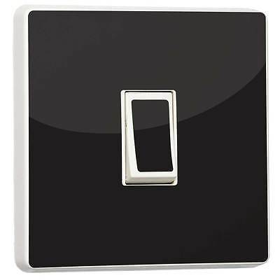Plain Black Gloss Single Light Switch Sticker Vinyl Cover Skin Decor By Stika.co • 2.29£