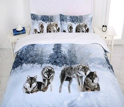AU35 • Buy Single/KS/Double/Queen/ King Size Bed Quilt Doona Cover Set--Snow Wolf Family