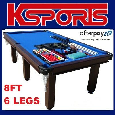AU699 • Buy Pool Table Pub Size 8ft Snooker Billiard Table Blue With 6 Legs & Leather Pocket