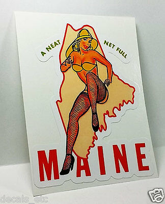 $4.53 • Buy Miss Maine Pinup Vintage Style Travel Decal, Vinyl Sticker, Luggage Label