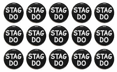 1.25  (32mm) STAG DO - BLACK OR WHITE - Pre-Wedding Party Button Badges • 4.99£