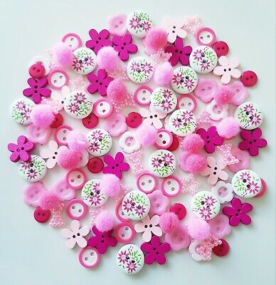 100 Assorted Buttons Pink Wood & Resin Flat Backs Scrap Booking Craft Cardmaking • 3.59£