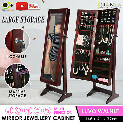 AU109.90 • Buy Mirror Jewellery Cabinet Storage Organiser Box Makeup Wooden Full Length Walnut