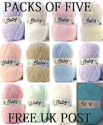 5 X 100g Baby Wool, Soft DK Double Knitting Yarn, Woolcraft Babycare & BabyDream • 10.49£