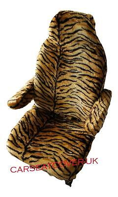 Fiat Ducato Motorhome Seat Covers - Gold Tiger Faux Fur + Armrest Covers • 68.99£