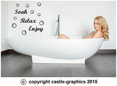 Soak Relax Enjoy + 45 Bubbles Art Sticker Decal Transfer For Bathroom Wall Tiles • 4.79£