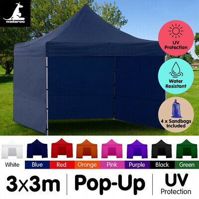 AU59 • Buy New 3x3 WALLAROO POP UP OUTDOOR GAZEBO FOLDING TENT PARTY MARQUEE CANOPY