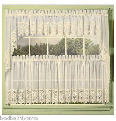$29.97 • Buy NEW Diana Sheer Voile Kitchen Curtain With Macrame Lace Trim - Ecru Beige