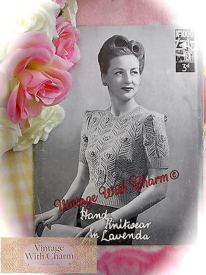 £2.99 • Buy Vintage 1940s Knitting Pattern Lady's  Rosina  Jumper. Fit 34-36in. Bust .
