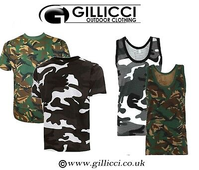 £6.99 • Buy Mens Summer Gym Workout Camo Camoflauge Army Short Sleeve T-shirt Vest Tank Top