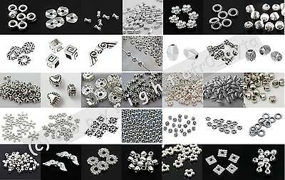 🎀 3 FOR 2 🎀 100 Silver Spacer Beads For Jewellery Making Different Styles • 1.20£