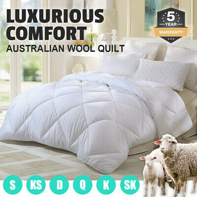 AU61.90 • Buy 350/500/700GSM All Size Australian Wool Quilt Doona Duvet Down Summer Winter