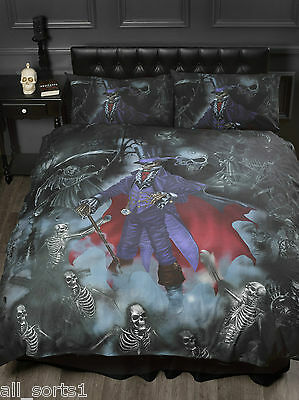 Alchemy Gothic Skulls Skeletons Black Magistus King Size Duvet Cover Set • 44.99£