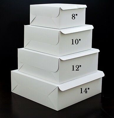 NEW White Cake Boxes Sizes: 8 , 10 , 12 , 14 , 16  Inch Superb Quality Free Post • 6.99£
