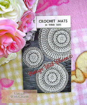 £1.99 • Buy Vintage 1940's Crochet Pattern Circular Table Mats In 3 Sizes. JUST £1.99 !!