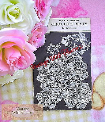 £1.99 • Buy Vintage 1940's Crochet Pattern Quickly Worked 'Fan' Design Mats. 3 Sizes