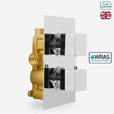 Concealed Square Thermostatic Shower Mixer 2 Dial 1 Way Valve Chrome Temel • 53.99£