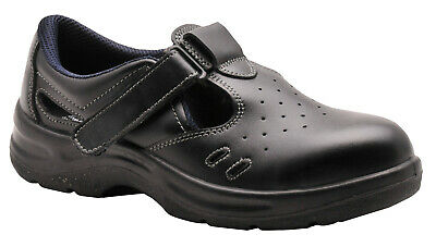 £24.99 • Buy Safety Sandals Black Leather Work Shoes Steel Toe Cap Kitchen Chefs Vets Fw01