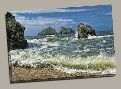 £20 • Buy Holywell Bay Canvas Print Cornwall Newquay Framed Picture Seaside Beach
