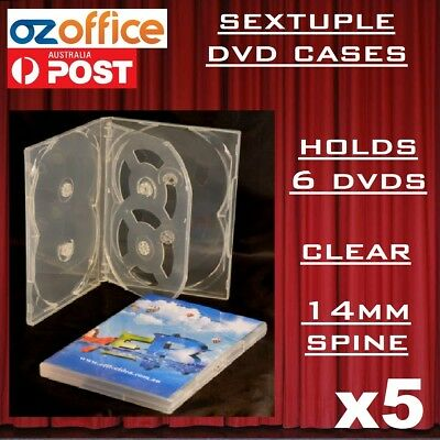 AU15.95 • Buy 5 X PREMIUM Sextuple Clear DVD Case Holds 6 Disc Six DVD Cover 14mm Pivot Tray