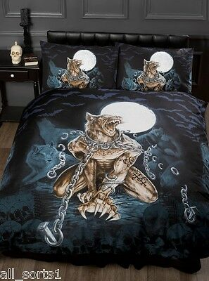 Alchemy Gothic Emo Skulls Werewolf Bats Black Chains King Size Duvet Cover Set • 43.99£