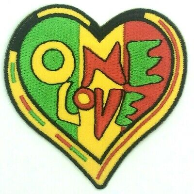 ONE LOVE HEART PATCH, Bob Marley, Rasta Colours *SEW-ON / IRON-ON* Embroidered • 2.39£