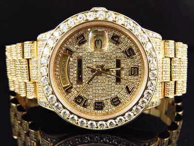 $ CDN30703.40 • Buy 18K Mens Full Diamond Yellow Gold Rolex Presidental Day-Date 36MM Diamond Watch
