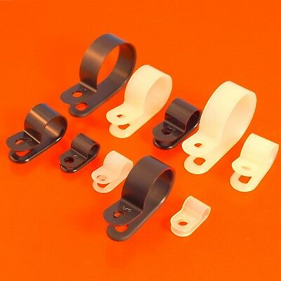 £1.85 • Buy High Quality Black & White Nylon Plastic P Clips - Fasteners For Cable & Tubing