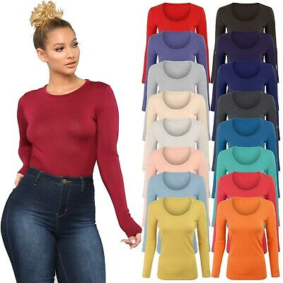 £5.95 • Buy Womens Long Sleeve Stretch Plain Round Scoop Neck T Shirt Top Ladies Fitted Tee