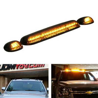 $53.19 • Buy Smoked Lens 3pc Cab Roof Marker Running Lights W/Amber LED Lamps For Truck SUV