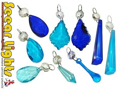 £12.99 • Buy TEAL Or BLUE CHANDELIER CUT GLASS CRYSTALS DROPS DROPLETS BEADS RETRO LIGHT PART