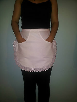 £4.99 • Buy White Waitress Kitchen Cooking Maid Half Pinny School Apron With Front Pocket