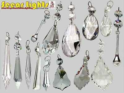 £8.99 • Buy Droplets Cut Glass Crystals Drops Beads Vintage Wedding Chandelier Prisms Retro