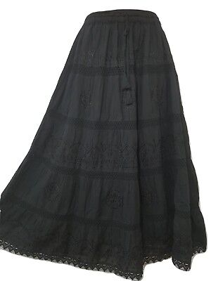 Black Cotton Skirt Lace Embroidered Gypsy Boho Festival One Size 12 14 16 18 20 • 17.99£