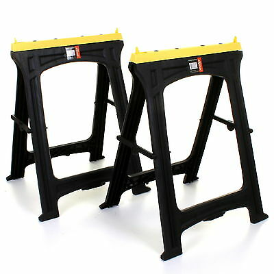 2x Folding Plastic Sawhorse Twin Pack Trestle Saw Horse Stands Fold Away Cutting • 39.99£