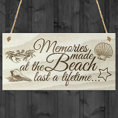 Memories Made At The Beach Last A Lifetime Wooden Plaque Gift Hanging Sign • 3.99£