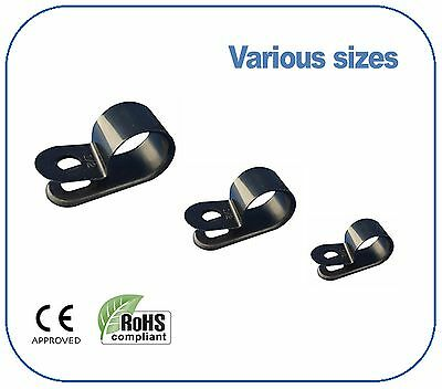 £3.11 • Buy Black Nylon Plastic P Clips - Fixing For Cable, Conduit, Tubing, Sleeving