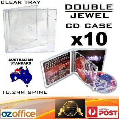 AU16.95 • Buy PREMIUM 10 X DOUBLE Jewel CD Case - Australian Standard Size Clear Tray CD Case