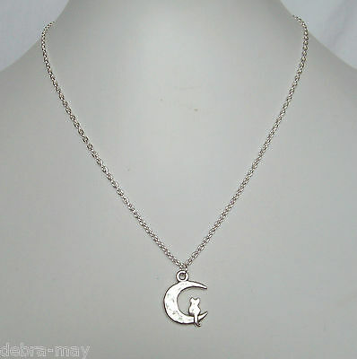 Cute Cat On The Moon Pendant 18  Silver Plated Chain Necklace In Gift Bag • 3.89£