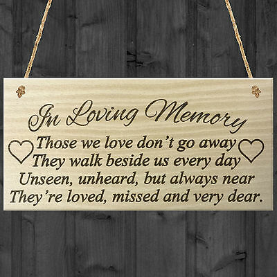 In Loving Memory Rememberance Memoria Poem Wooden Hanging Plaque Gift Love Sign • 3.99£