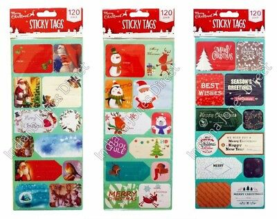 £2.99 • Buy 120 Christmas Gift Tags Stickers Adhesive Labels Cartoons Greetings Traditional