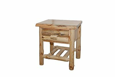 $521.97 • Buy Rustic Pine Log End Table - Side Table - Night Stand - Amish Made In USA