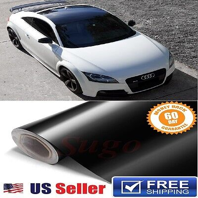 $39.70 • Buy GLoSSY BLACK LUXURY Gloss Vinyl Wrap ROOF Paint Protection Film 72 X60  6FTx5FT